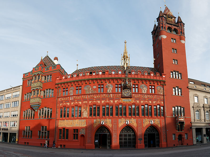 basel, Switzerland. red town hall