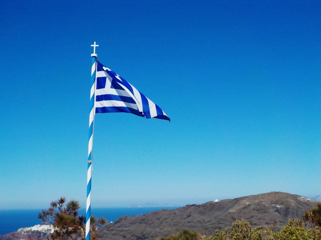 greek flag on Santorini