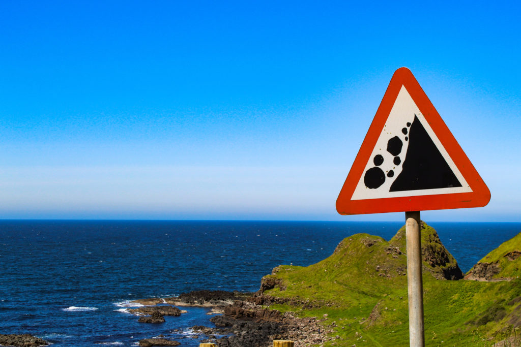 pericolo frane, Giant's Causeway con bambini