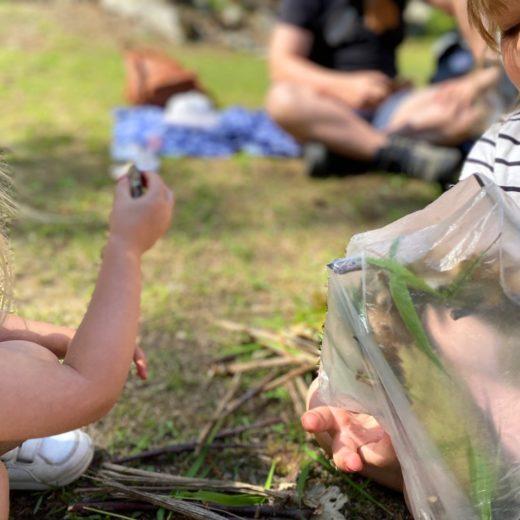 bambini che creano mandala con la natura