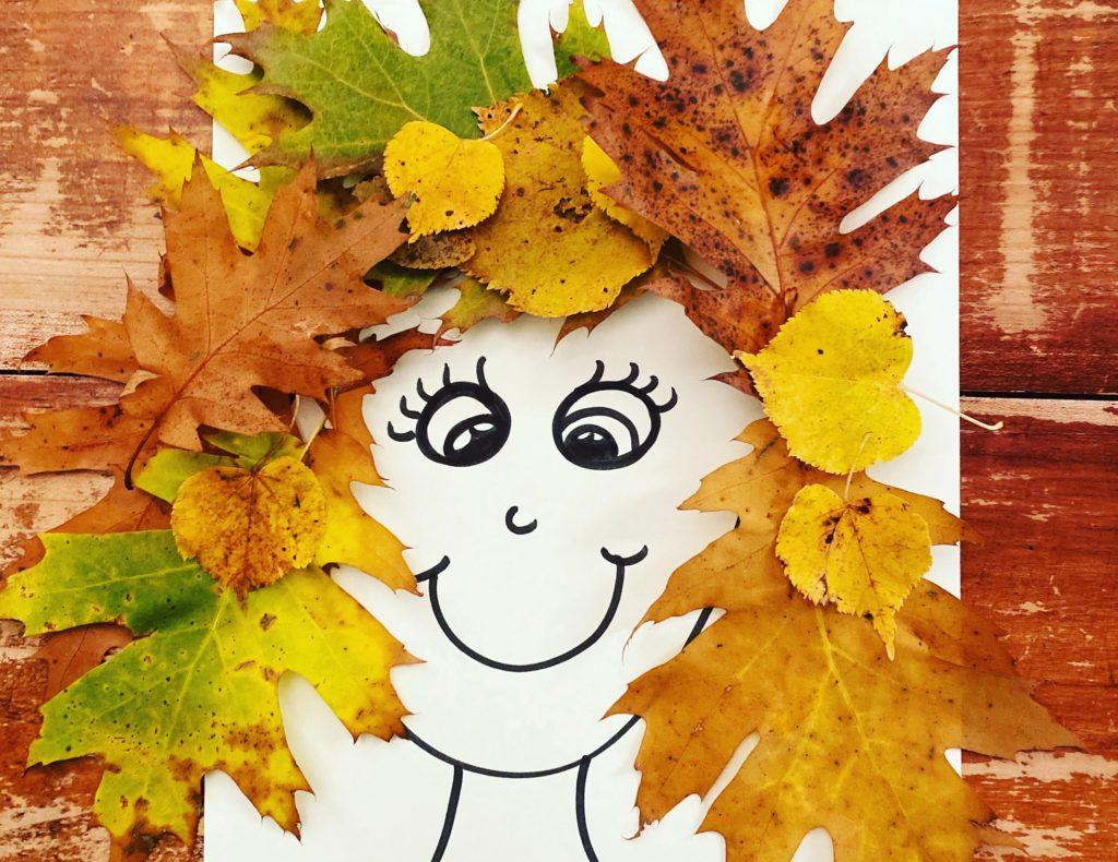 attività con foglie: capelli autunnali