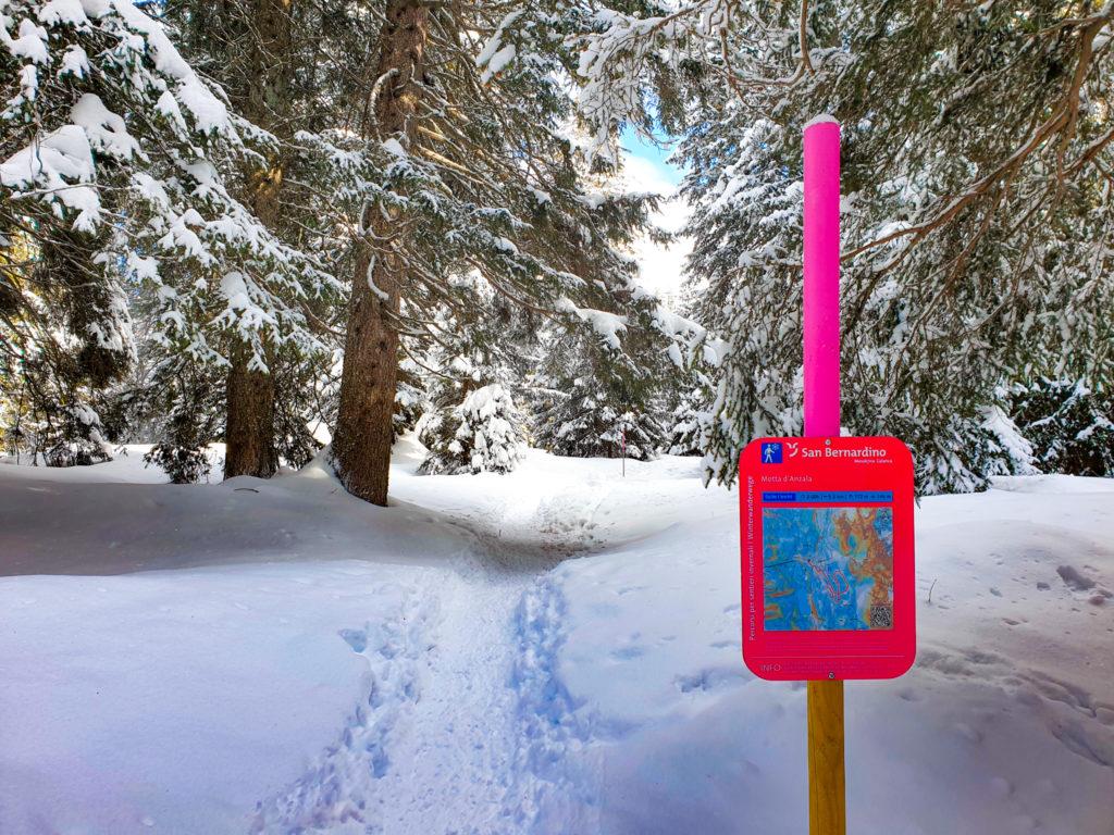 sentiero invernale san bernardino